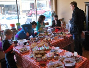 Photo of bake sale tables and goodies