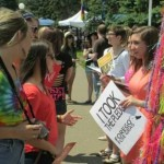Photo of leafleting at Pride