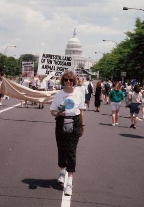 Vonnie at the 1990 March for Animals in Washington, D.C.